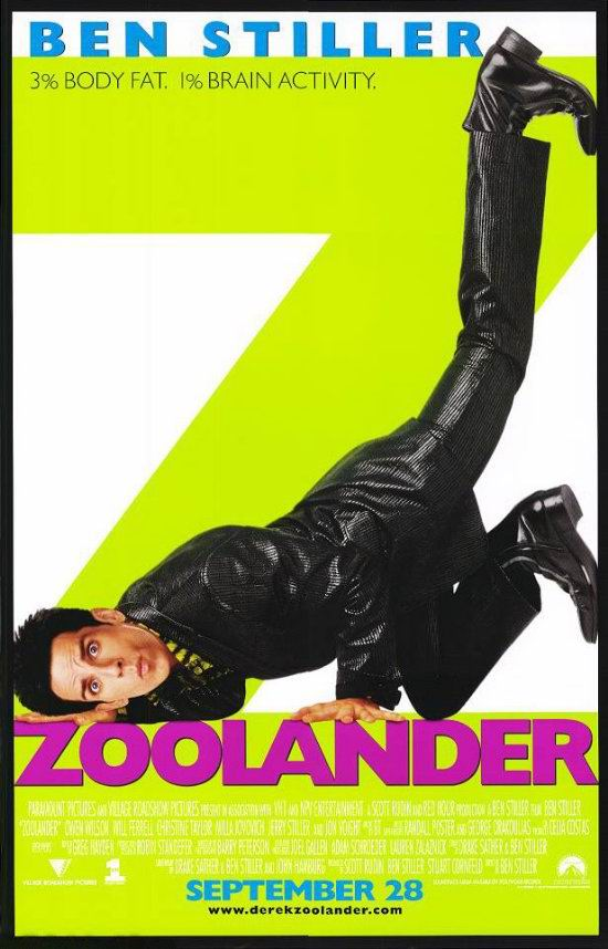 "poster for ""Zoolander"" by Ben Stiller(2001)"